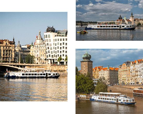 Einstündige Schiffsfahrt durch Prag
